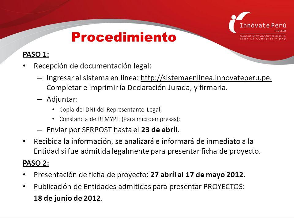 Procedimiento PASO 1: Recepción de documentación legal: