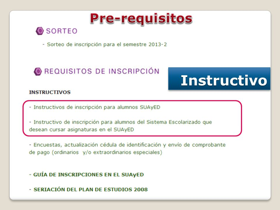 Pre-requisitos Instructivo