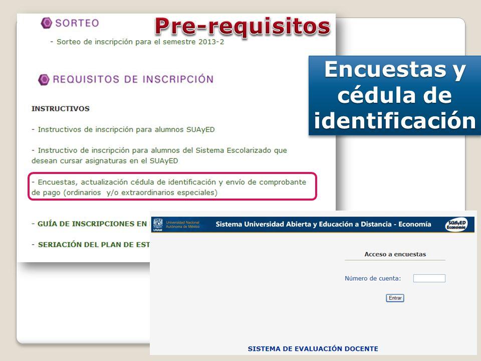 Encuestas y cédula de identificación