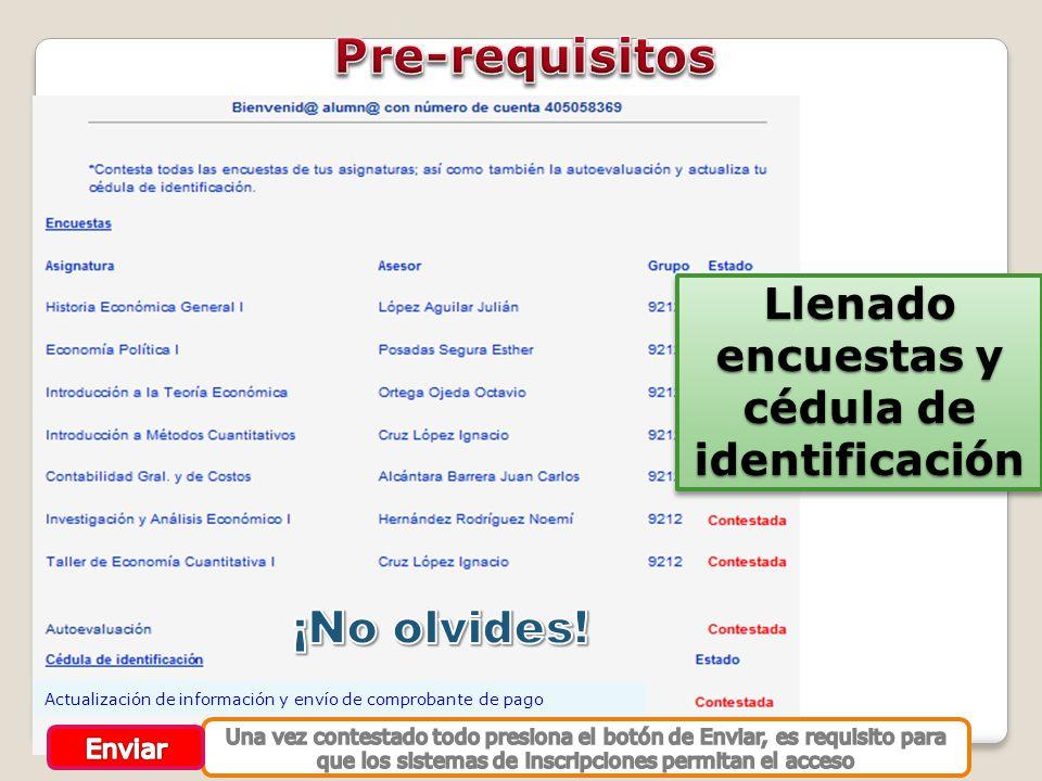 Llenado encuestas y cédula de identificación