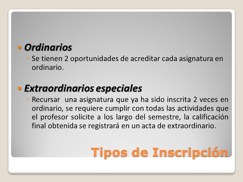 Tipos de Inscripción Ordinarios Extraordinarios especiales