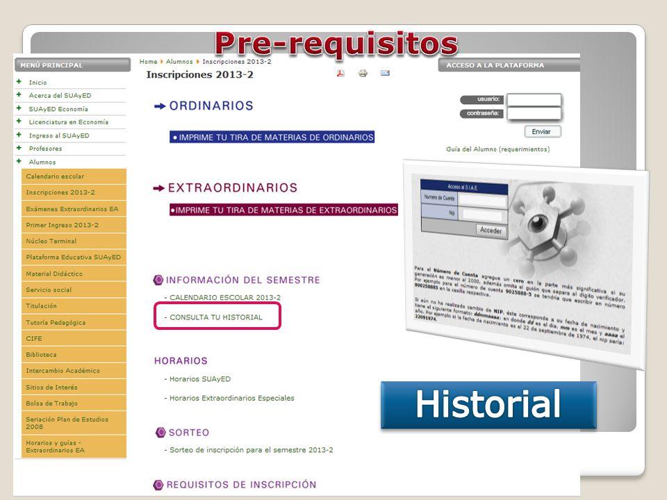 Pre-requisitos Historial