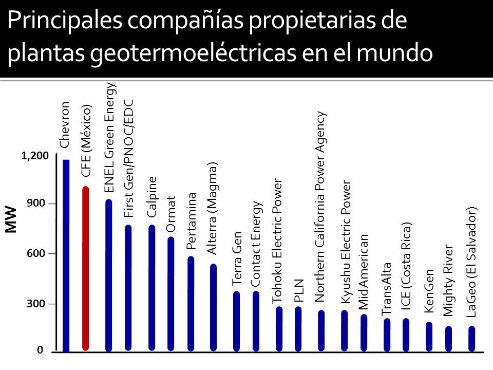Principales compañías propietarias de plantas geotermoeléctricas en el mundo