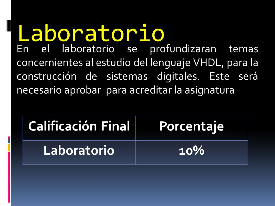 Laboratorio Calificación Final Porcentaje Laboratorio 10%