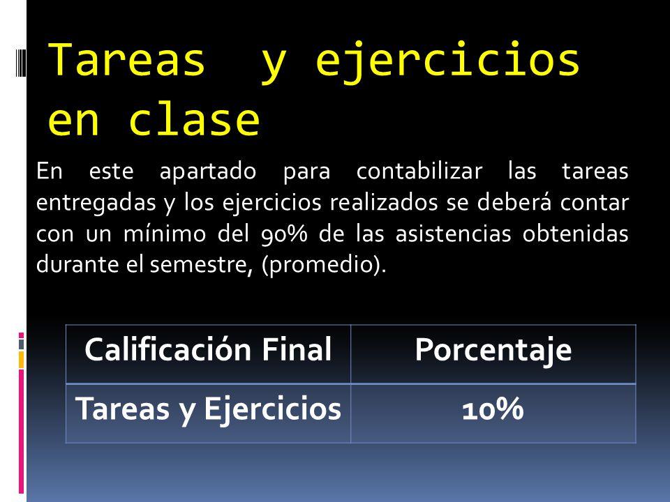 Tareas y ejercicios en clase