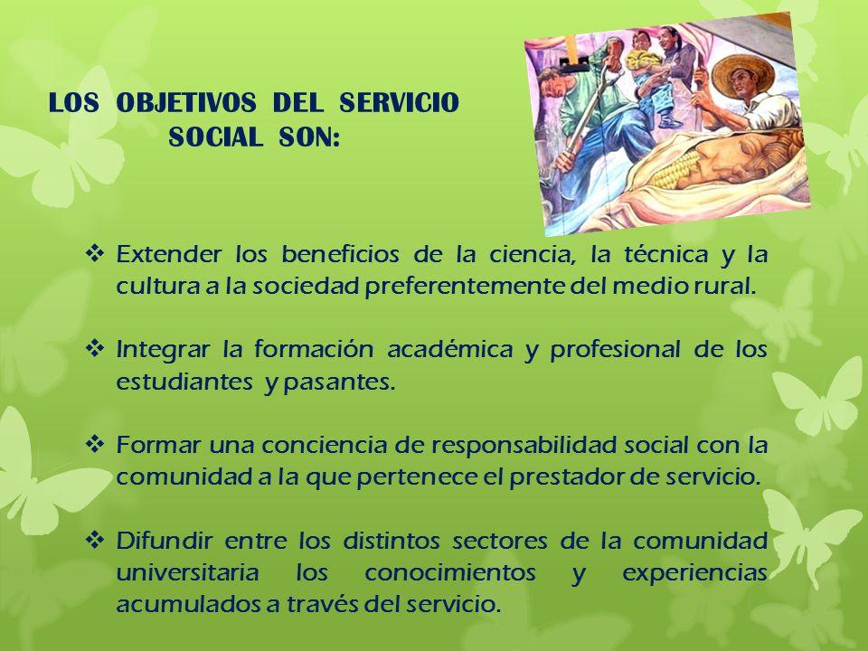 LOS OBJETIVOS DEL SERVICIO SOCIAL SON:
