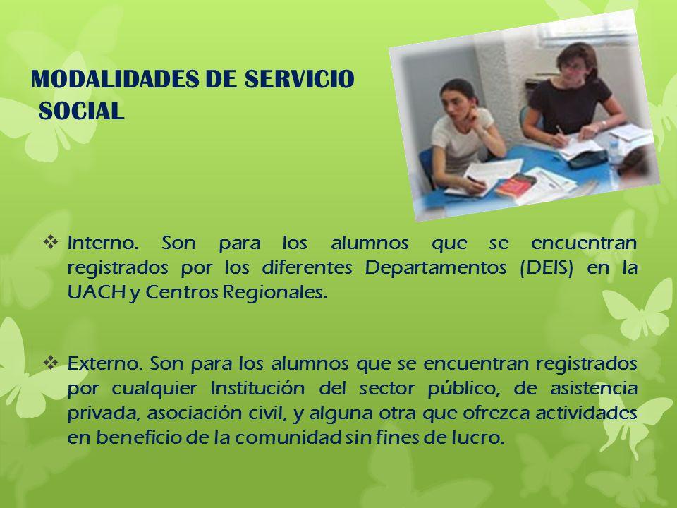 MODALIDADES DE SERVICIO SOCIAL