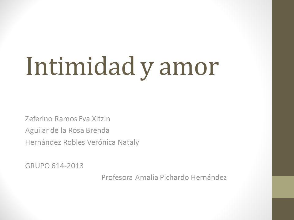 Intimidad y amor Zeferino Ramos Eva Xitzin Aguilar de la Rosa Brenda