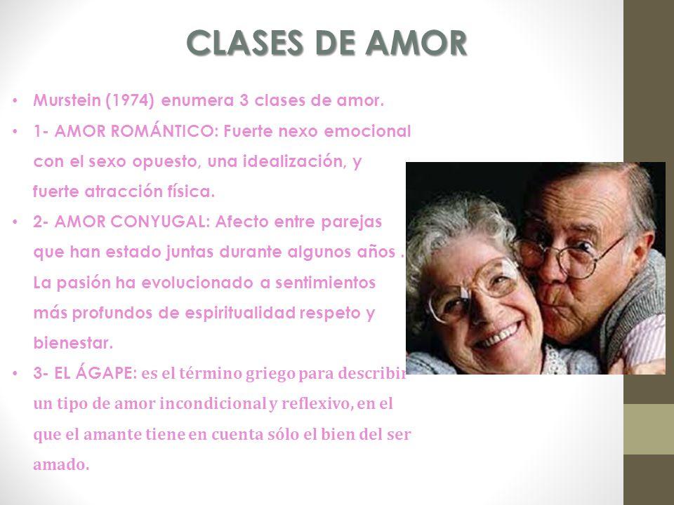 CLASES DE AMOR Murstein (1974) enumera 3 clases de amor.