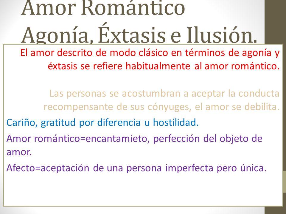 Amor Romántico Agonía, Éxtasis e Ilusión.
