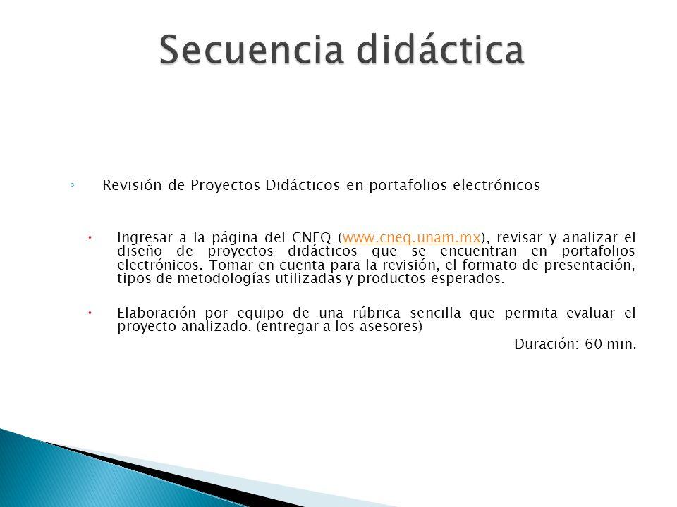 Secuencia didáctica Revisión de Proyectos Didácticos en portafolios electrónicos.