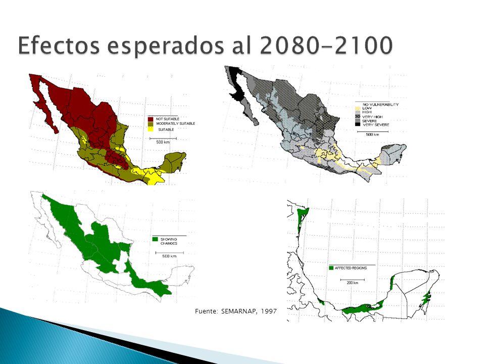 Efectos esperados al 2080-2100 Fuente: SEMARNAP, 1997