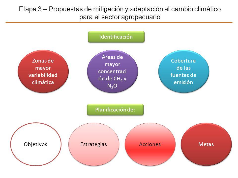 Etapa 3 – Propuestas de mitigación y adaptación al cambio climático para el sector agropecuario