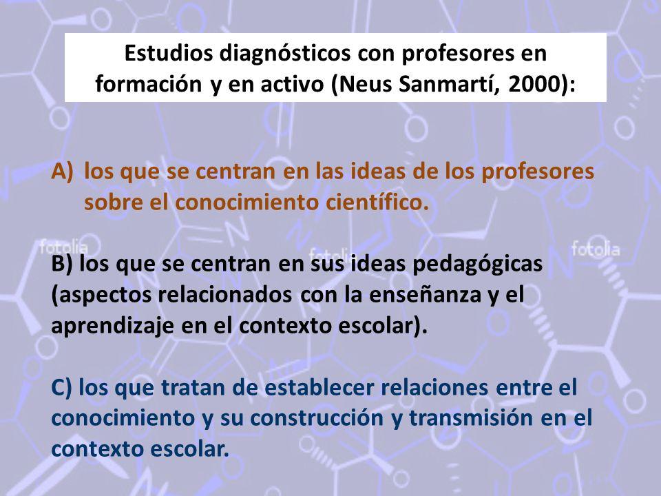 Estudios diagnósticos con profesores en formación y en activo (Neus Sanmartí, 2000):
