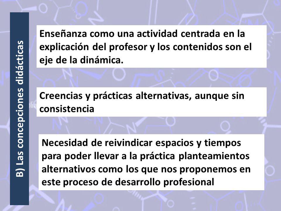 B) Las concepciones didácticas