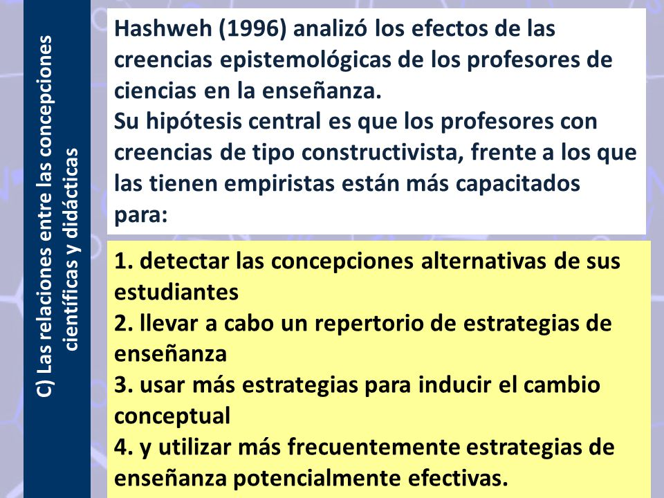 C) Las relaciones entre las concepciones científicas y didácticas