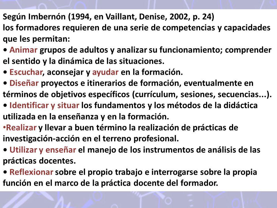 Según Imbernón (1994, en Vaillant, Denise, 2002, p. 24)