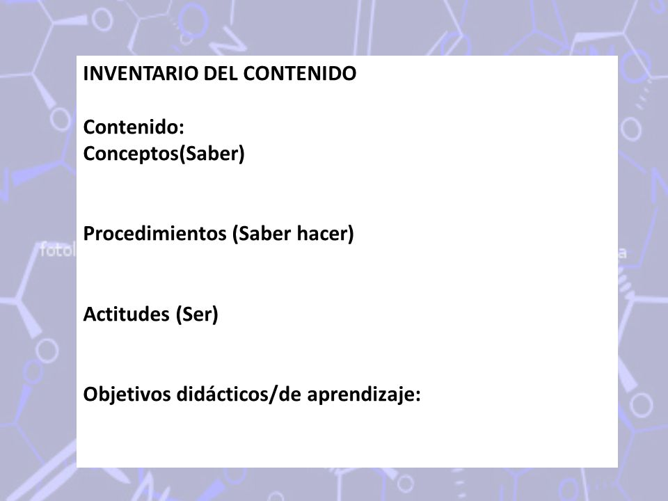 INVENTARIO DEL CONTENIDO