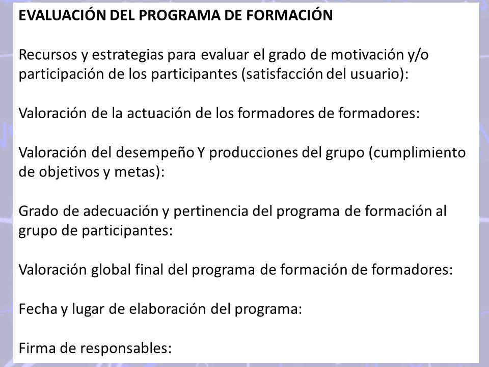 EVALUACIÓN DEL PROGRAMA DE FORMACIÓN