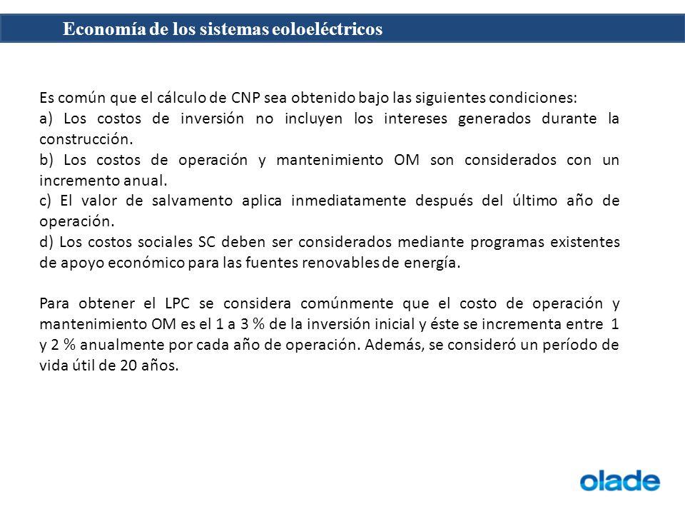 Es común que el cálculo de CNP sea obtenido bajo las siguientes condiciones: