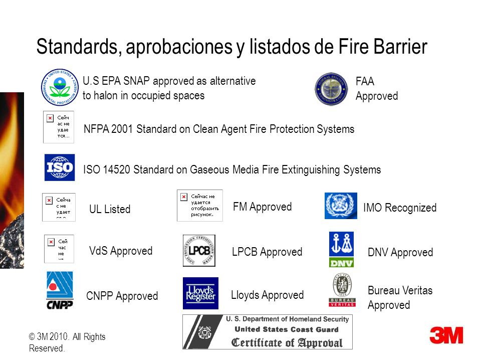 Standards, aprobaciones y listados de Fire Barrier