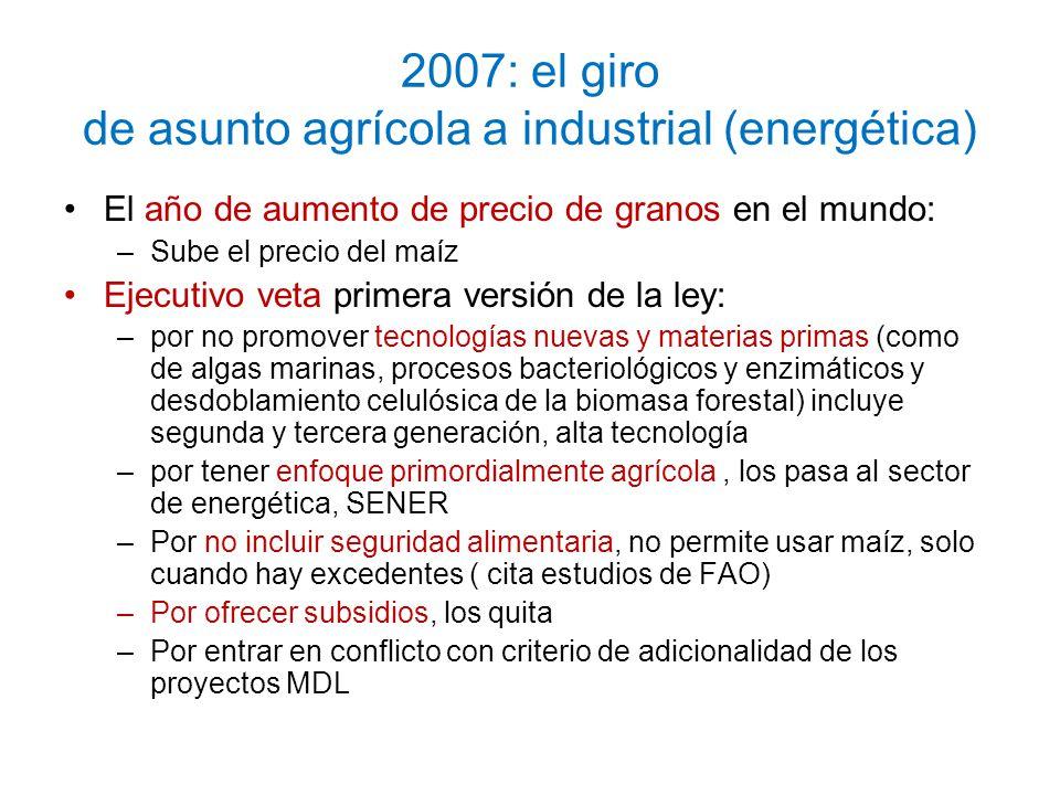 2007: el giro de asunto agrícola a industrial (energética)