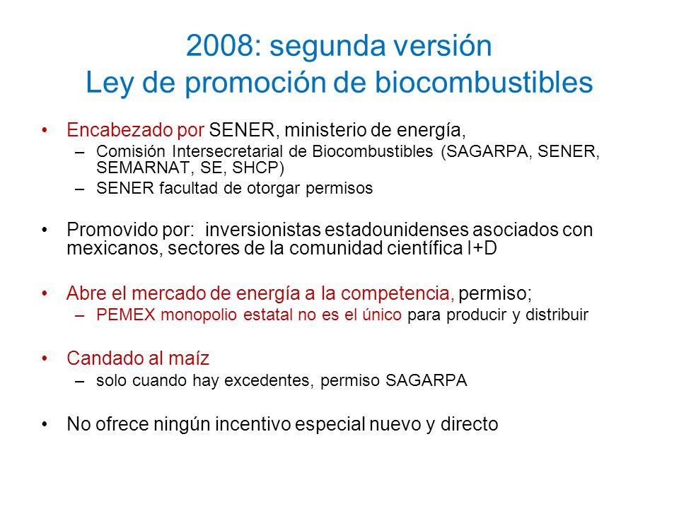 2008: segunda versión Ley de promoción de biocombustibles