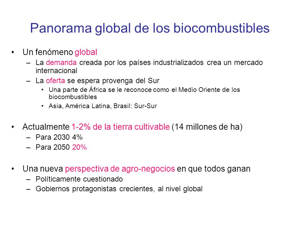 Panorama global de los biocombustibles