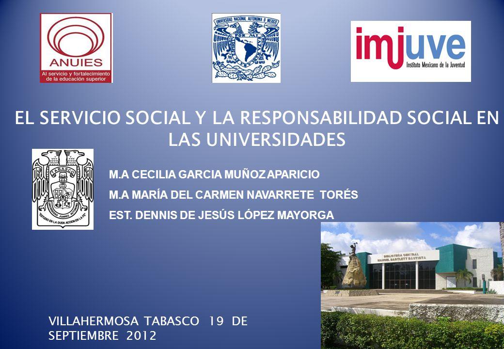 EL SERVICIO SOCIAL Y LA RESPONSABILIDAD SOCIAL EN LAS UNIVERSIDADES
