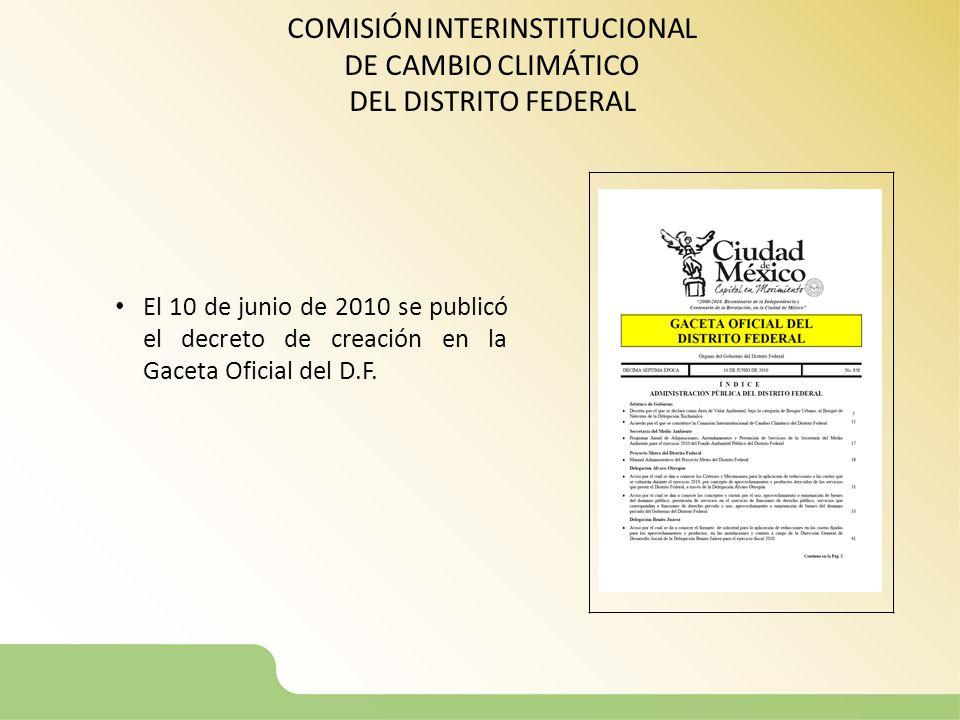 COMISIÓN INTERINSTITUCIONAL DE CAMBIO CLIMÁTICO DEL DISTRITO FEDERAL