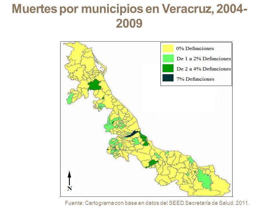 Muertes por municipios en Veracruz, 2004-2009