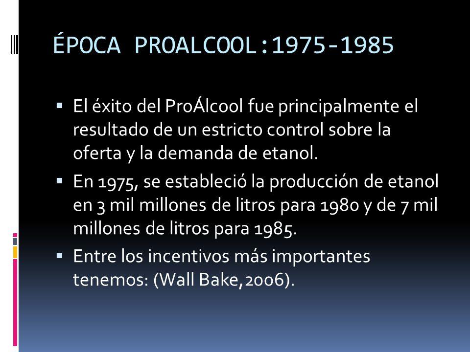 ÉPOCA PROALCOOL:1975-1985 El éxito del ProÁlcool fue principalmente el resultado de un estricto control sobre la oferta y la demanda de etanol.