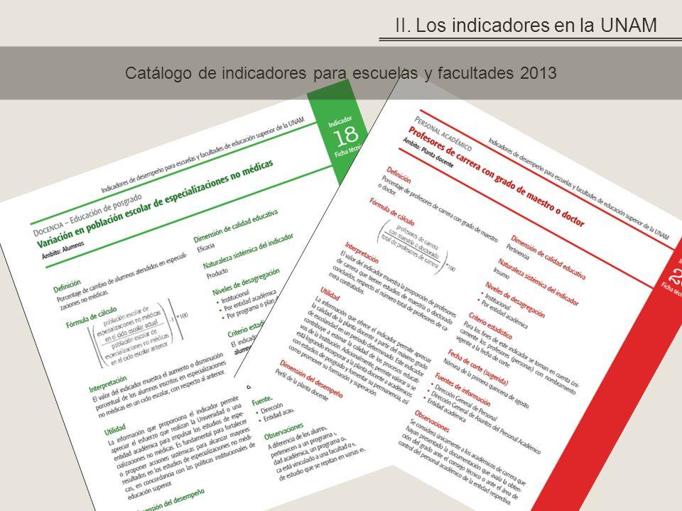 Catálogo de indicadores para escuelas y facultades 2013