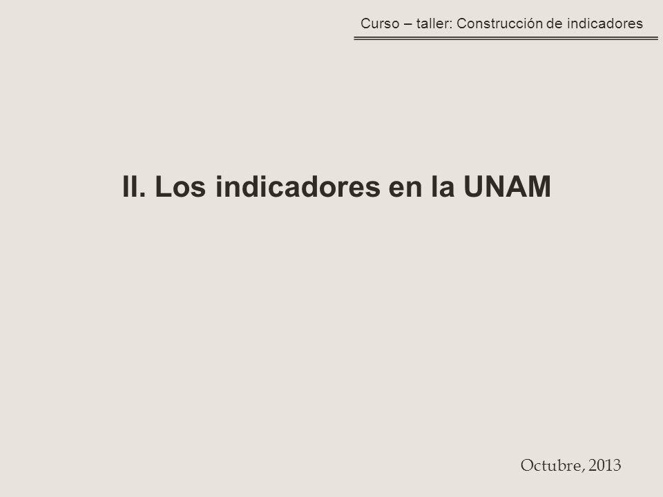 II. Los indicadores en la UNAM