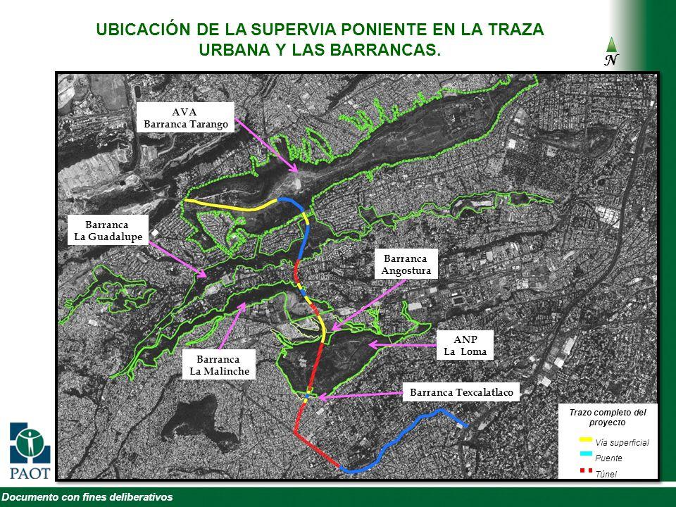 UBICACIÓN DE LA SUPERVIA PONIENTE EN LA TRAZA URBANA Y LAS BARRANCAS.