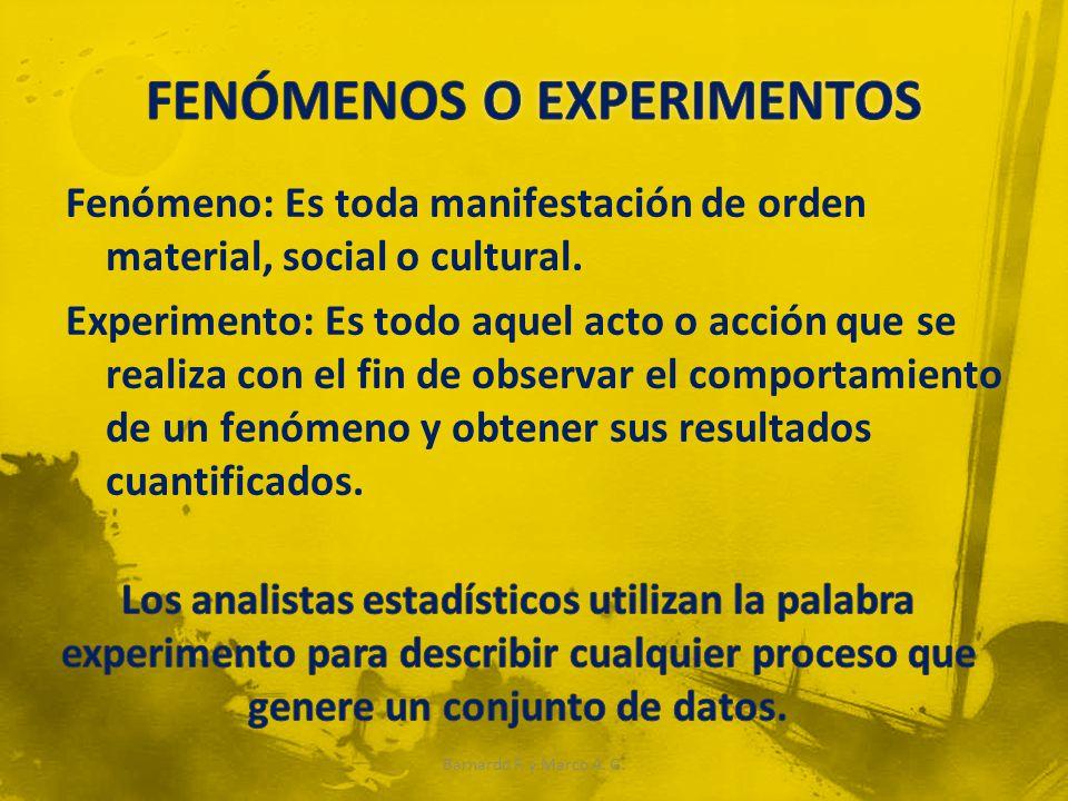 FENÓMENOS O EXPERIMENTOS
