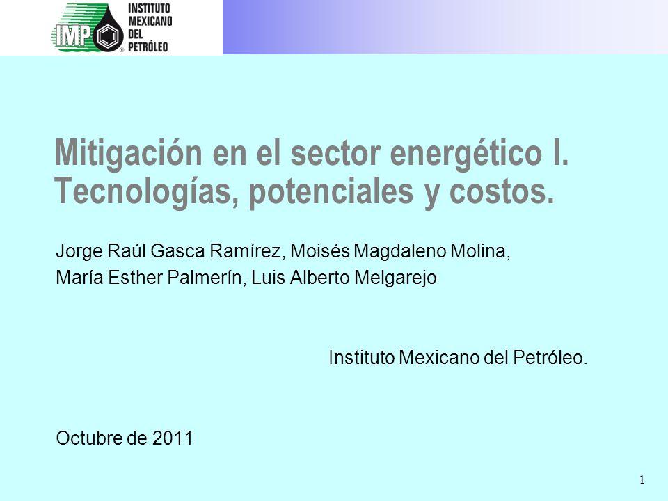 Mitigación en el sector energético I. Tecnologías, potenciales y costos.