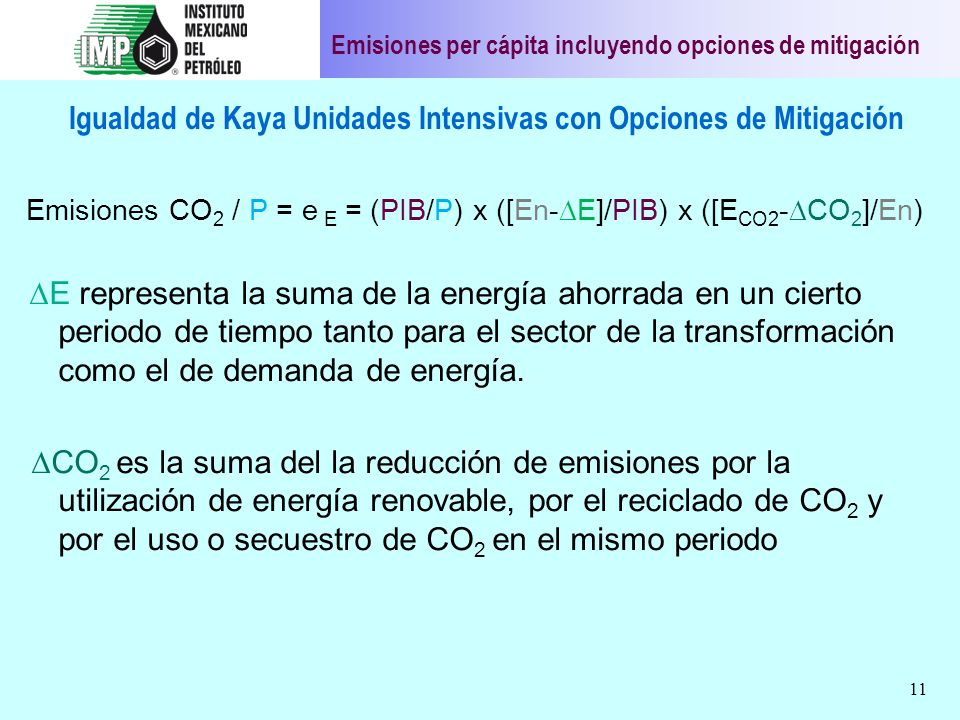 Igualdad de Kaya Unidades Intensivas con Opciones de Mitigación