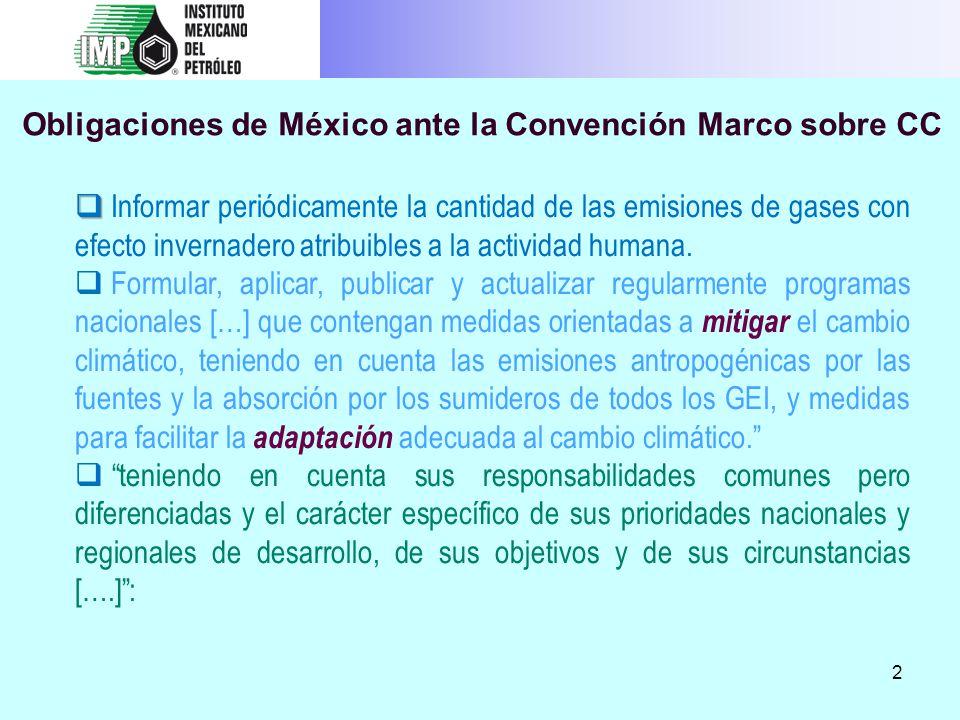 Obligaciones de México ante la Convención Marco sobre CC