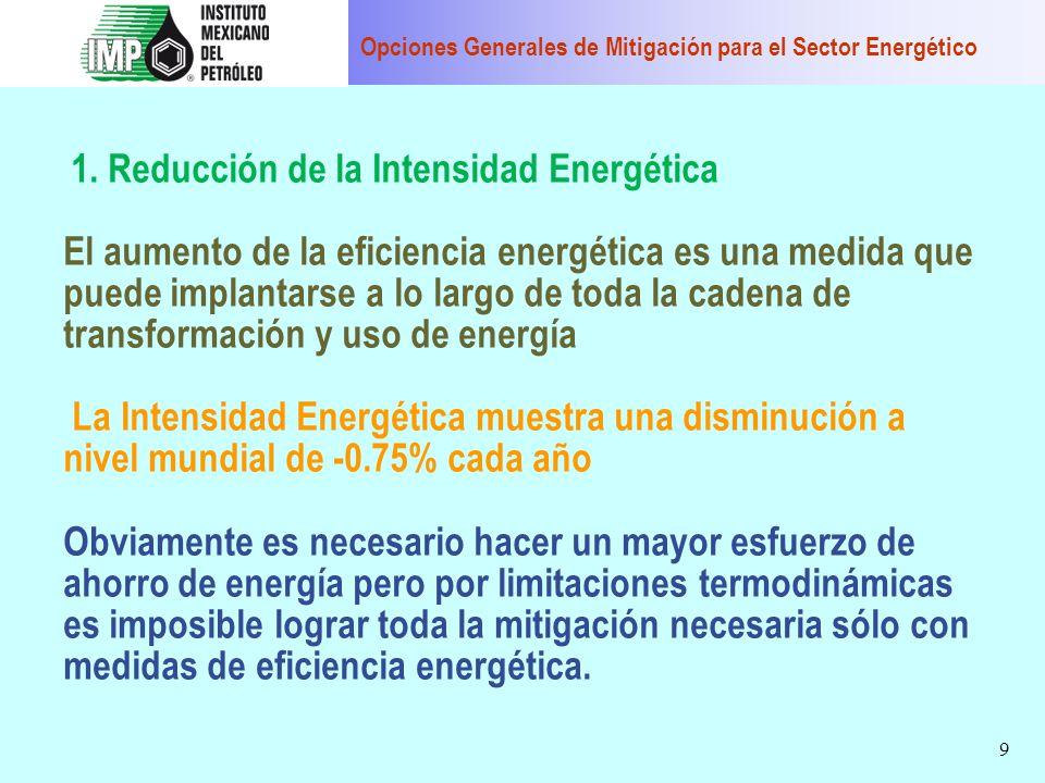Opciones Generales de Mitigación para el Sector Energético