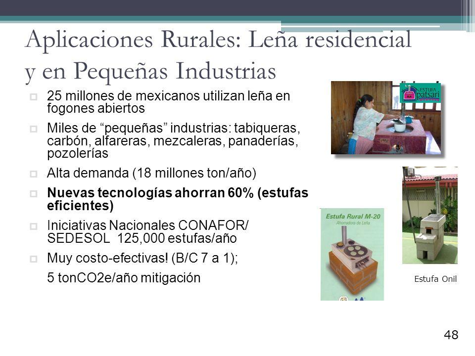 Aplicaciones Rurales: Leña residencial y en Pequeñas Industrias
