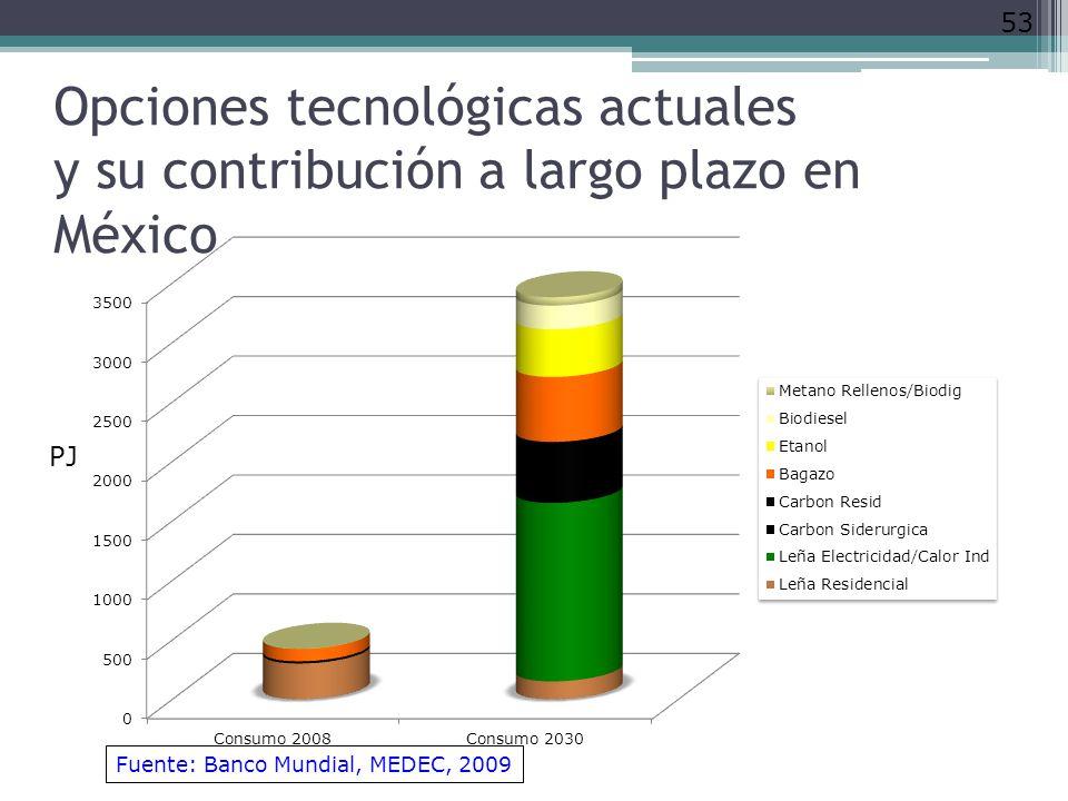 Opciones tecnológicas actuales y su contribución a largo plazo en México
