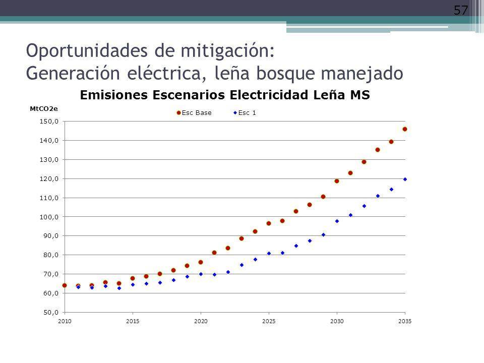 Oportunidades de mitigación: Generación eléctrica, leña bosque manejado