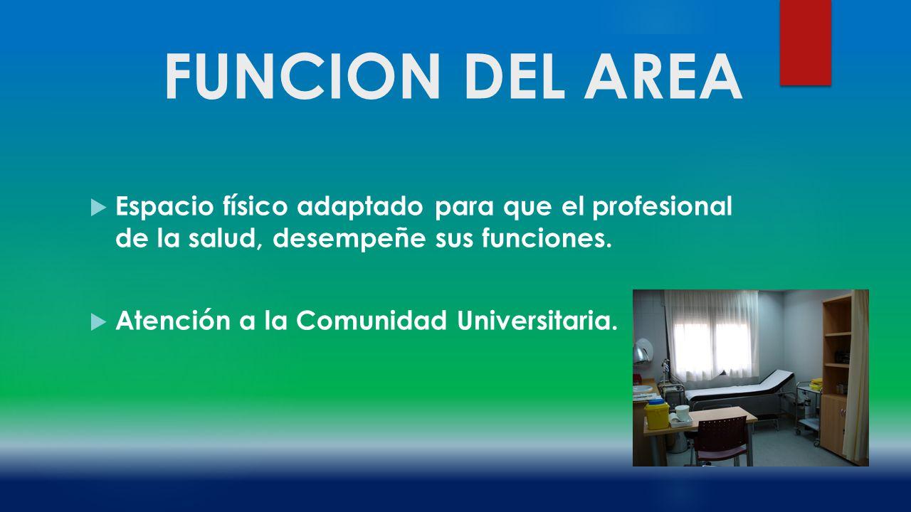 FUNCION DEL AREA Espacio físico adaptado para que el profesional de la salud, desempeñe sus funciones.