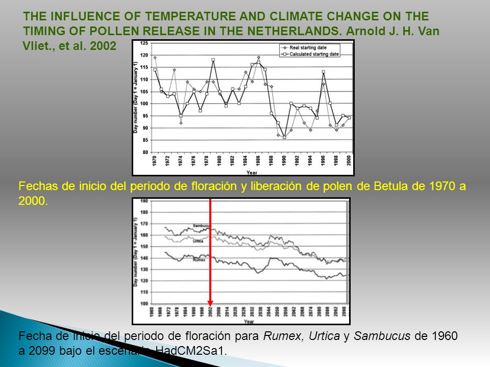 THE INFLUENCE OF TEMPERATURE AND CLIMATE CHANGE ON THE TIMING OF POLLEN RELEASE IN THE NETHERLANDS. Arnold J. H. Van Vliet., et al. 2002
