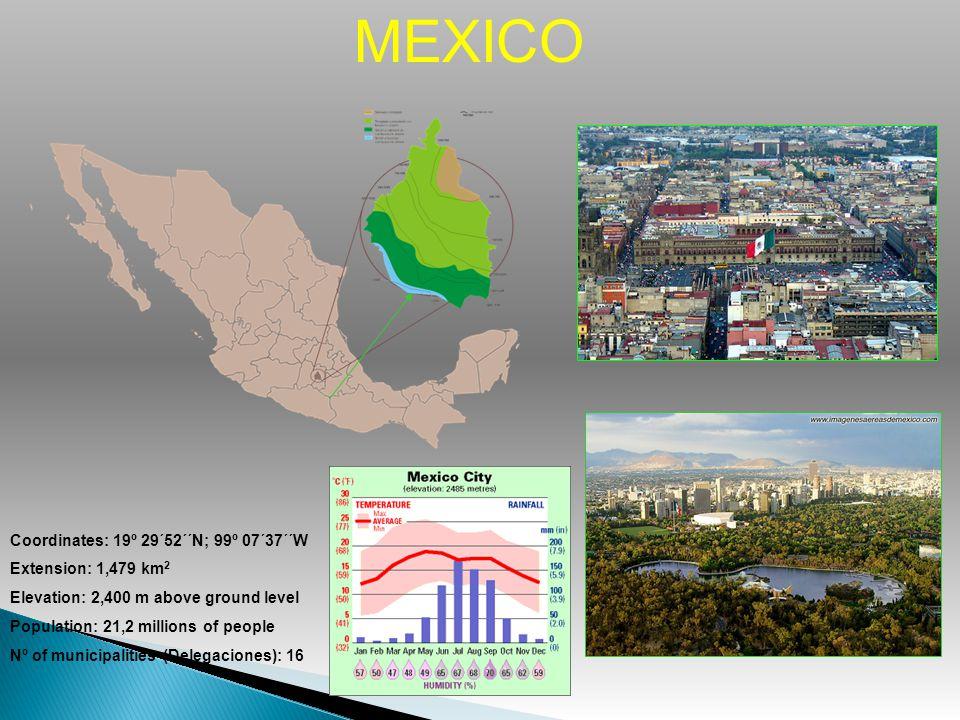 MEXICO Coordinates: 19º 29´52´´N; 99º 07´37´´W Extension: 1,479 km2