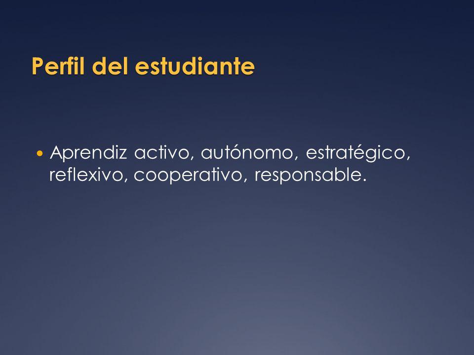 Perfil del estudiante Aprendiz activo, autónomo, estratégico, reflexivo, cooperativo, responsable.