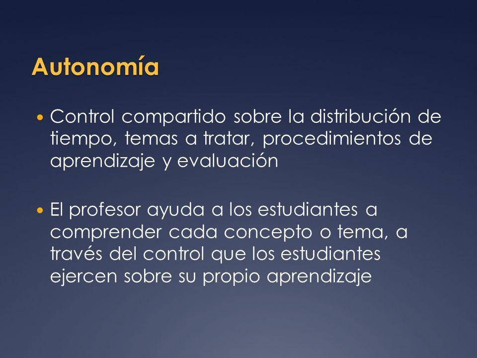 Autonomía Control compartido sobre la distribución de tiempo, temas a tratar, procedimientos de aprendizaje y evaluación.