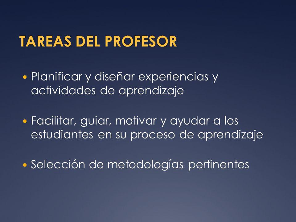 TAREAS DEL PROFESOR Planificar y diseñar experiencias y actividades de aprendizaje.