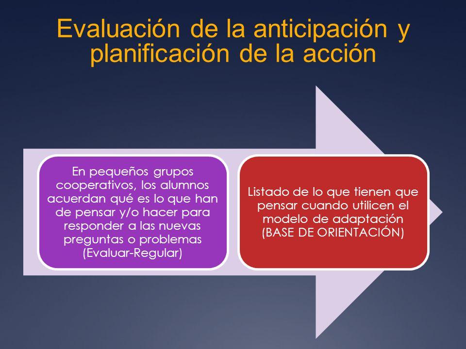 Evaluación de la anticipación y planificación de la acción